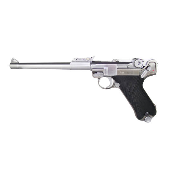 WE P08 Parabellum Long GBB airsoft pisztoly, nikkel