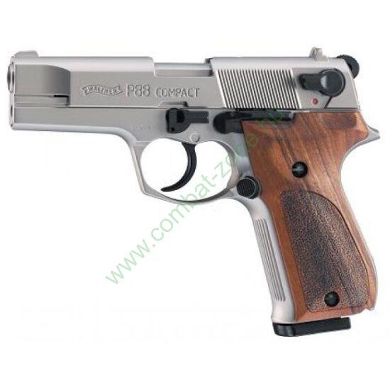 Walther P88 Nikkel gáz-riasztó pisztoly, fa markolat
