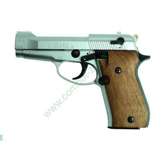 Weihrauch HW94 gáz-riasztó pisztoly, nikkel, fa markolat