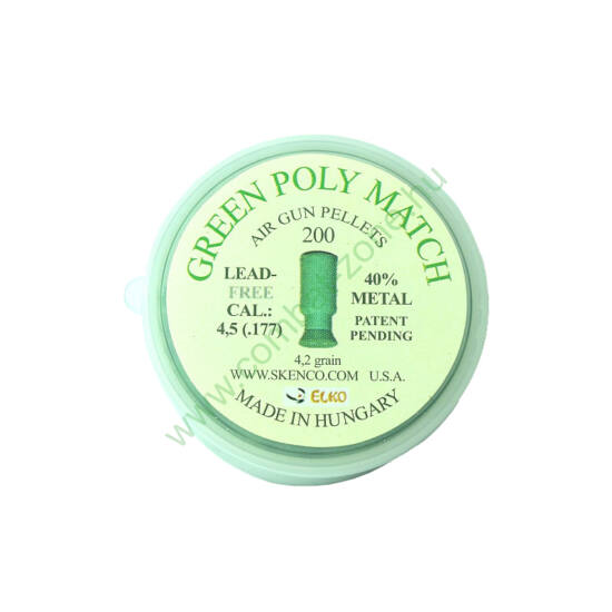 Green Poly Match cal. 4.5 (.177) lövedék