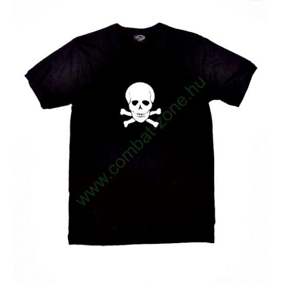 Koponyás póló, fekete