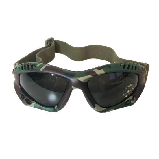 Mil-tec védőszemüveg, füstüveg-woodland