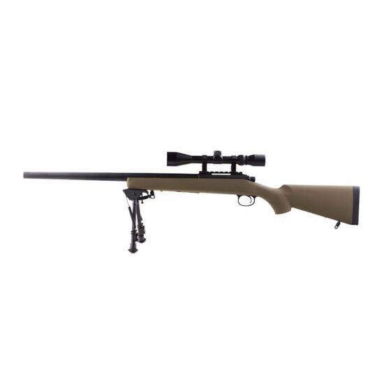 SW-10 UPGRADE airsoft mesterlövész puska, távcső+bipod, tan