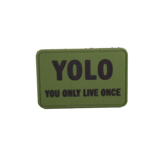 YOLO olive felvarró