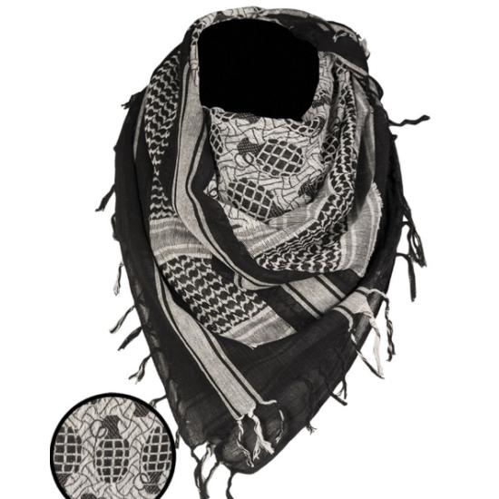 Miltec Shemagh gránát fehér/fekete 110x110 cm