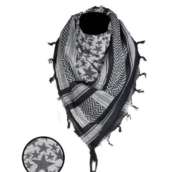 Miltec Shemagh Csillag fehér/fekete 110x110 cm