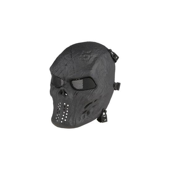 Védőmaszk, taktikai, koponya, fekete, rácsos
