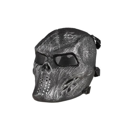 Védőmaszk, taktikai, koponya, acél-szín, rácsos