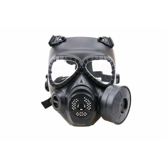 Gázálarc védőmaszk, ventillátorral, fekete