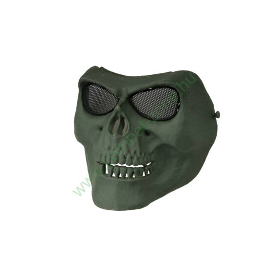 Védőmaszk, koponya, oliva
